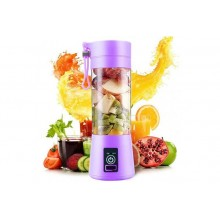 Mini blender portabil SIKS® 380 ml, 4 lame, cu recipient de baut, mov