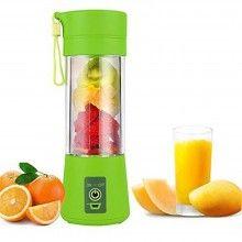 Mini blender portabil SIKS® 380 ml, 4 lame, cu recipient de baut, verde