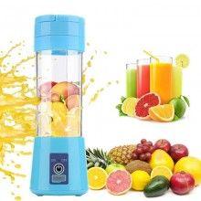 Mini blender portabil SIKS® 380 ml, 4 lame, cu recipient de baut, albastru
