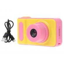 Aparat foto EDAR® pentru copii, galben cu roz, rezolutie HD, card de memorie 8 GB inclus