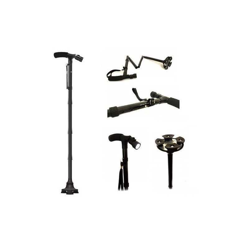 Baston telescopic EDAR® pentru sprijin, pliabil cu lanterna, 4 puncte de sprijin, baza 4 puncte, portabil