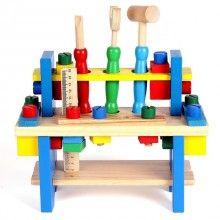 Banc de lucru SIKS® interactiv din lemn, cu ciocan, rigla, surubelnita, cheie si suruburi