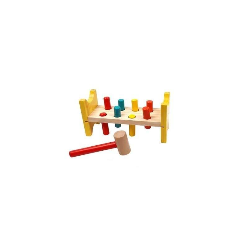 Jucarie multicolora din lemn cu cilindri si ciocan