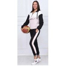 Trening negru-roz cu maneca lunga si pantaloni lungi