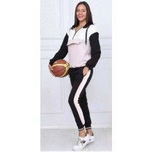 Trening negru-roz cu maneca lunga si pantaloni lungi, masura XL