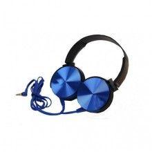 Casti audio extra bass, conectare cu fir, Albastru