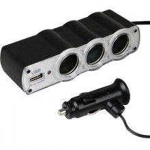 Adaptor triplu pentru masina cu 1 x USB, negru, Siks