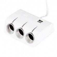 Adaptor pentru masina SIKS® alb, 12/24V, cu 3 prize si 2 USB