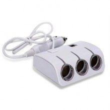 Adaptor auto cu 2 x USB si 3 x intrari, 12/24V, alb