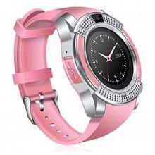 Smartwatch SIKS® touchscreen, cartela SIM, camera, functie bluetooth, alarma, notificari, roz