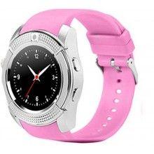 Smartwatch roz, ecran rotund de 1.3 inch, curea din silicon, compatibil cu toate sistemele de operare