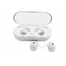 Casti Bluetooth SIKS® 5.0, Wireless, limitare zgomot, HD voice, incarcare rapida, culoare alb, cu doc de incarcare inclus