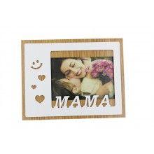 Rama foto SIKS®, 15 x 10 cm, cu mesaj Mama, cu suport, din lemn, culoare Alb