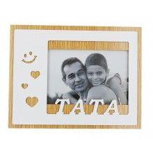 Rama foto cu mesRama foto SIKS®, 15 x 10 cm, cu mesaj Tata, suport si margine din lemn, alb maroaj Tata