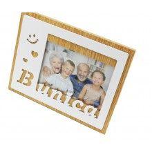 Rama foto SIKS®, 15 x 10 cm, cu mesaj Bunica, din lemn, cu suport, Alb