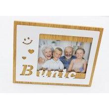 Rama foto SIKS®, 15 x 10 cm, cu mesaj Bunic, din lemn, Alb