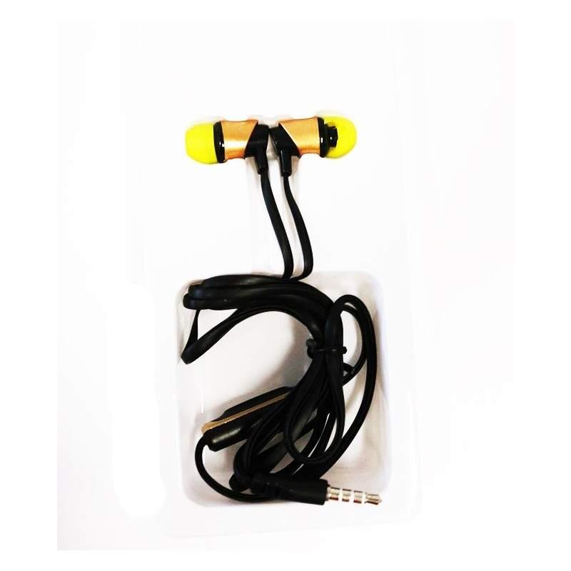 Casti audio SIKS® XTN04 in-ear cu fir si microfon, mufa Jack, super Bass, culoare galben