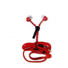 Casti audio SIKS® cu super Bass, mufa Jack 3.5mm, Fara Fire Incurcate, cu microfon incorporat, CZZ02, rosu