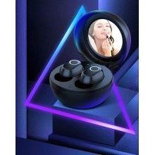 Casti Wireless SIKS® Bluetooth V5.0, cu oglinda inclusa, autonomie mare, super Bass, TWS LB10 negre