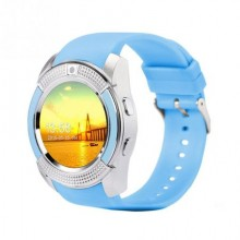 Smartwatch Rotund 1.22 inch Camera 1.3MP Pedometru Cronometru Notificari Facebook/WhatsApp SWR03 Albastru