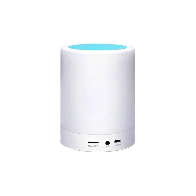 Boxa portabila cu lumina LED SIKS®, slot card, USB, intrare Jack 3,5mm, led Multicolor, MBP09, alba