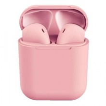 Casti Wireless I12 Airpods TWS Bluetooth rezistente la apa Super Bass Roz