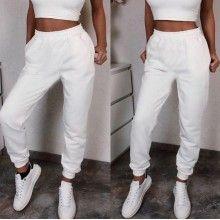 Pantaloni sport dama albi