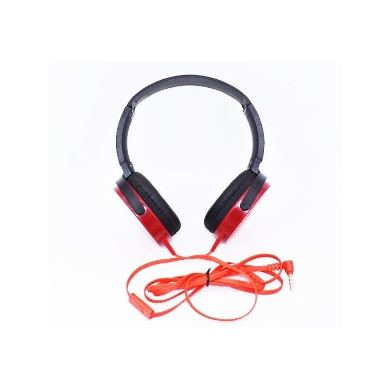 Casti audio extra bass, conectare cu fir, Rosu