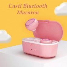 Casti Wireless Bluetooth 5.0 cu super bass si reducerea zgomotului model 208 Roz
