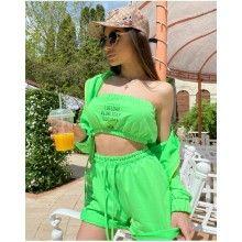 Compleu dama 3 piese din bumbac verde compus din pantaloni+top+hanorac