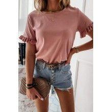 Tricou dama basic roz din bumbac cu aplicatii la maneci