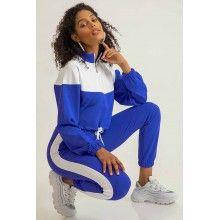 Trening dama albastru sport din doua piese cu pantaloni din bumbac