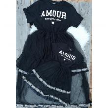 """Set rochite mama-fiica imprimeu """"AMOUR"""" culoare negru"""