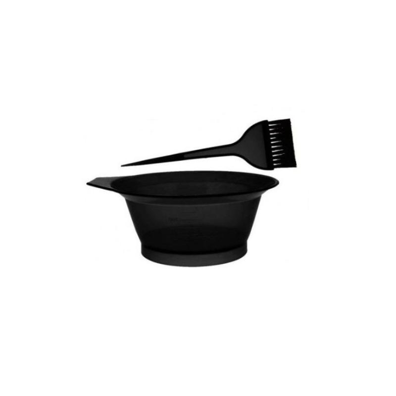 Set vopsit par EDAR® 2 bucati, material plastic, bol si pensula, negru