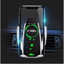 Suport auto SIKS® pentru telefon, incarcator wireless, FAST CHARGE, negru/ argintiu