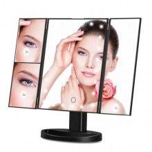 Oglinda neagra SIKS® pentru make-up, marire x2, x3, rotire 180, cu baterii, negru
