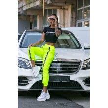 Compleu dama cu pantaloni si top, verde cu negru