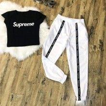 Compleu dama cu pantaloni si top, alb cu negru
