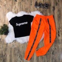 Compleu dama cu pantaloni si top, portocaliu cu negru