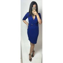 Rochie dama mulata cu cordon in talie, albastra