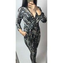 Salopeta eleganta dama cu imprimeu animal print