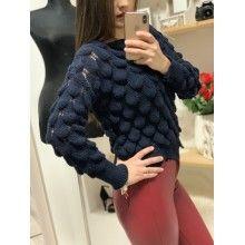 Pulover damă din tricot model deosebit, bleumarin