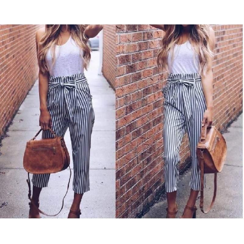 Pantaloni dama office cu dungi alb-negru