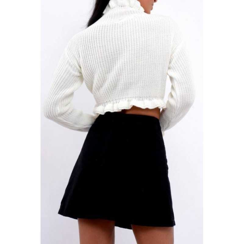 Pulover Cropped alb