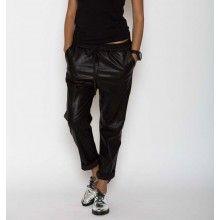 Pantaloni boyfriend din piele ecologică