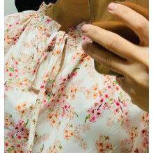 Camasa dama alba cu imprimeu floral roz