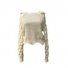 Pulover damă din tricot model deosebit pe maneca, alb