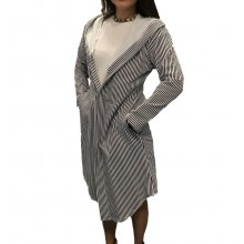 Cardigan dama larg in dungi alb-negru