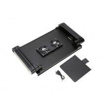 Masa functionala SIKS® laptop, 2 coolere, 2 suporturi, aluminiu, negru