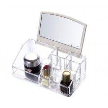 Organizator cosmetice SIKS® 16 spatii de depozitare, oglinda, transparent